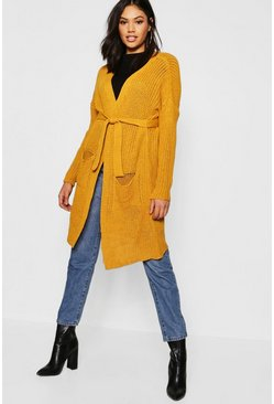 Womens Mustard Belted Oversized Boyfriend Cardigan