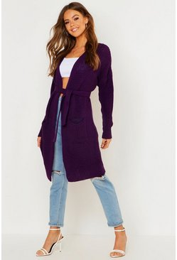 Womens Plum Belted Oversized Boyfriend Cardigan