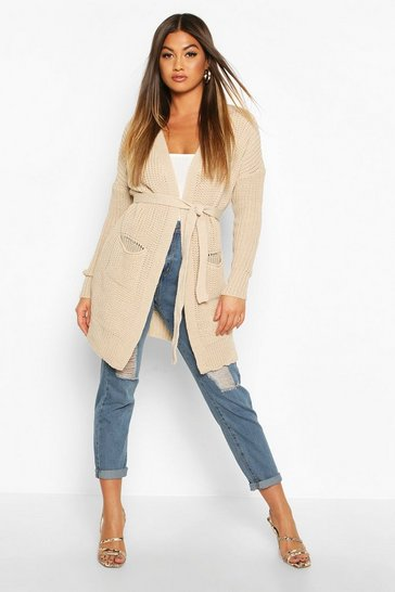 Womens Stone Belted Oversized Boyfriend Cardigan