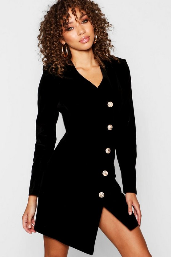 Womens Velvet Military Button Asymmetric Hem Blazer Dress