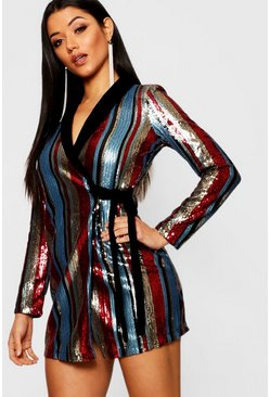 Womens Multi Sequin Stripe Velvet Collar Blazer Dress
