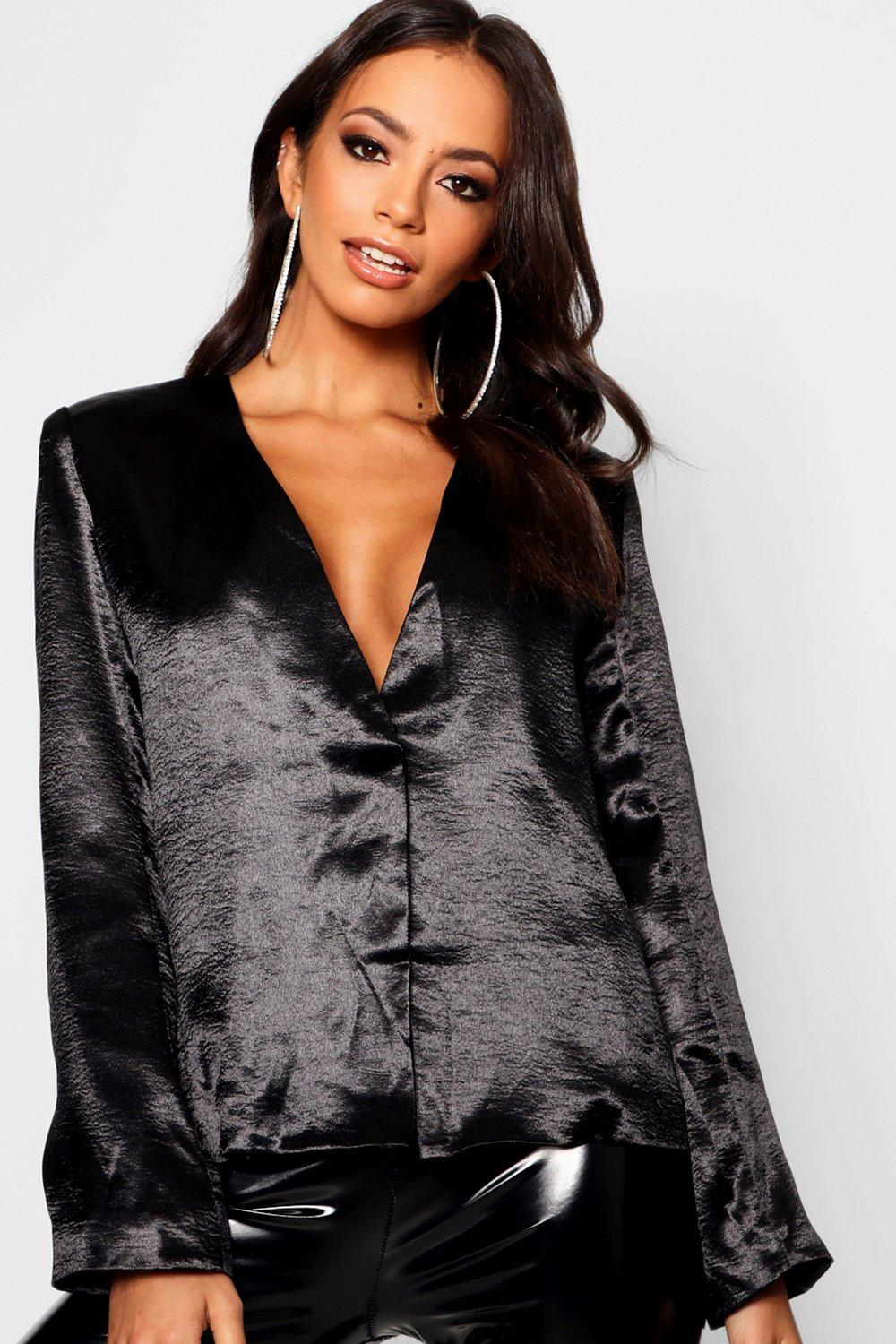 Satin Collarless Boxy Duster Jacket