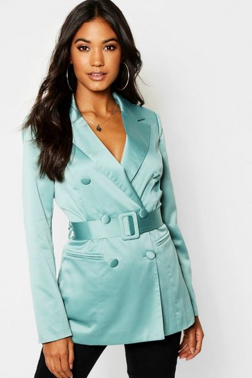 Womens Dusty green Satin Belted Double Breasted Blazer