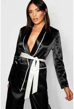 Womens Black Satin Contrast Piping & Belt Blazer