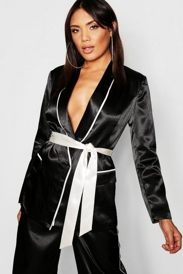 Womens Satin Contrast Piping & Belt Blazer