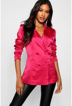 Womens Red Satin Double Breasted Blazer
