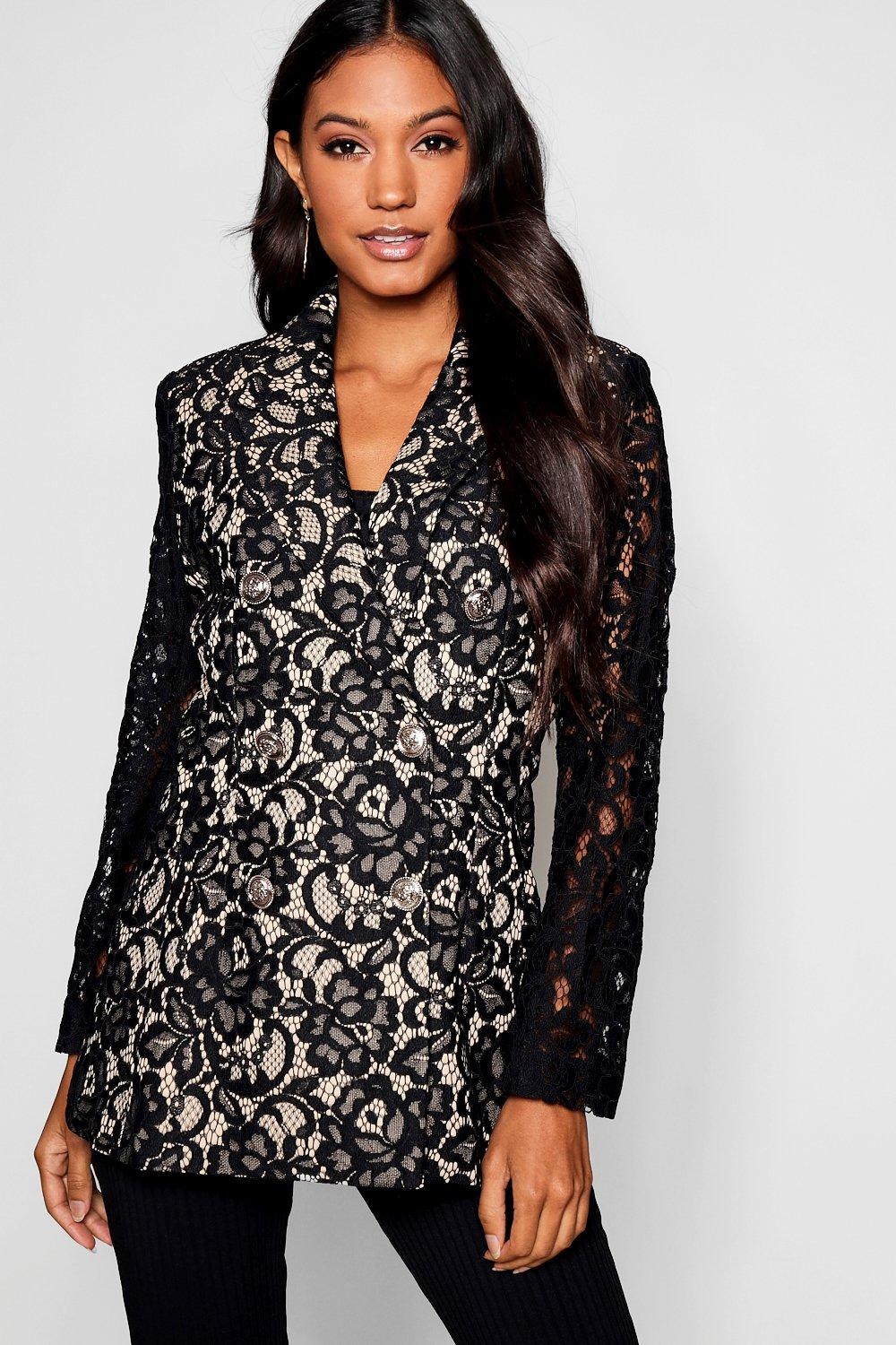 Lace Longline Military Button Blazer