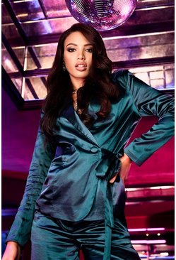 Womens Emerald Satin Button Side Tie Blazer