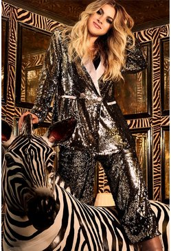 Womens Silver Sequin Satin Lapel Blazer