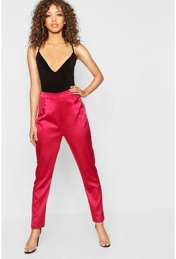 Womens Red Satin Tapered Leg Trouser