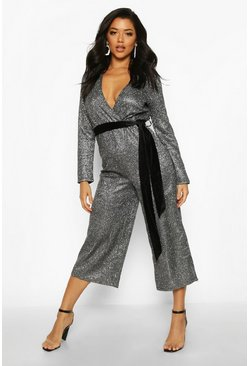 Womens Black Metallic Wrap Velvet Belted Culotte Jumpsuit