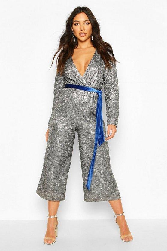 Metallic Wrap Velvet Belted Culotte Jumpsuit