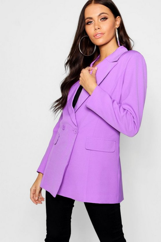 Womens Jewel purple Woven Wrap Over Covered Button Blazer