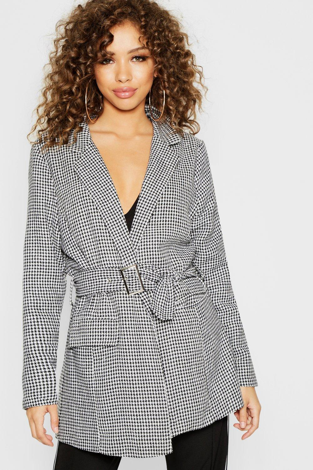 Woven Dog Tooth Belted Long Line Blazer
