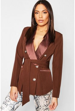 Womens Chocolate Woven Military Tie Belt Blazer