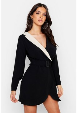 Womens Black Woven Contrast Collar Self Fabric Belt Ruffle Blazer Dress