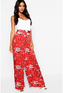 Womens Red Satin Oriental Floral Wide Leg Trouser