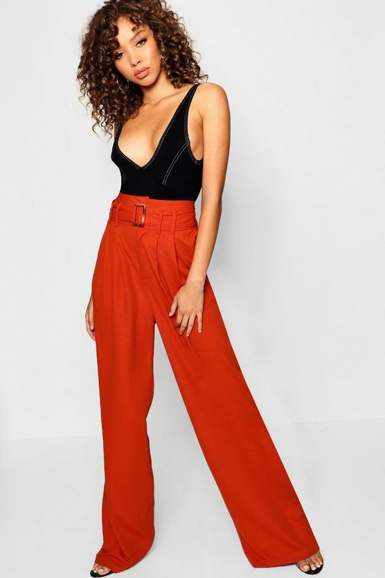 Womens Rust Tort Shell Belted Woven Wide Leg Pants