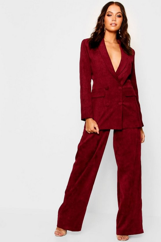 Pantalon coupe large en velours côtelé, Fruits rouges, Femme