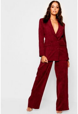Womens Berry Cord Wide Leg Trouser