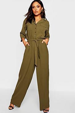 Woven Cargo Pocket Boiler Suit Jumpsuit