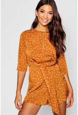Womens Terracotta Twist Front Tie Polka Dot Playsuit