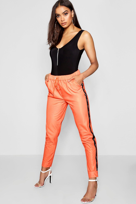 de deportiva Pantalones naranja chándal cinta en con tricot 6HgqOH