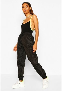 Black High Waist Shell Suit Track Pant
