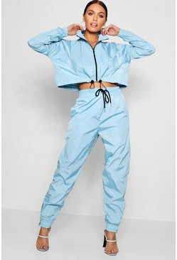 Womens Blue High Waist Shell Suit Track Pant