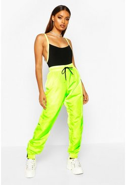 Neon-green High Waist Shell Suit Track Pant
