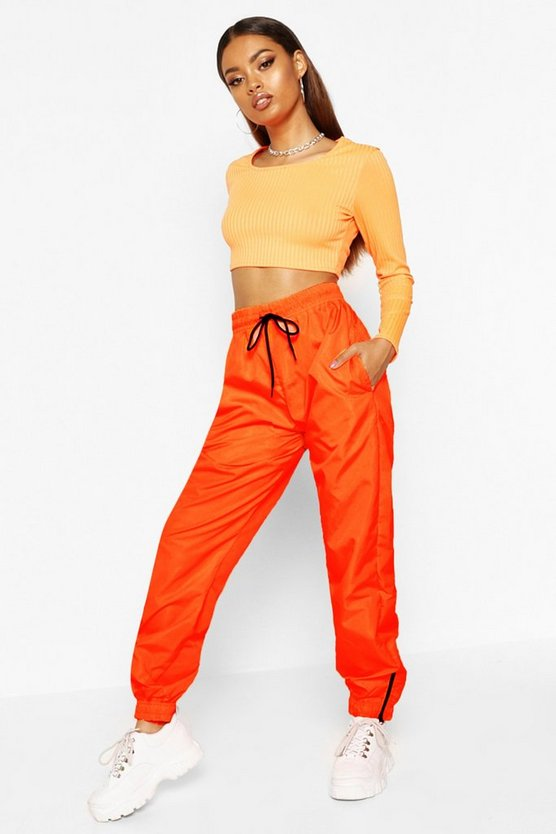 Womens Neon-orange High Waist Shell Suit Track Pant