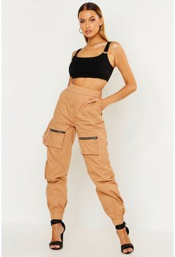 Womens Camel Woven Cargo Utility Pocket Trouser