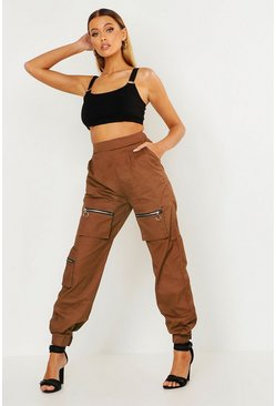 Womens Chocolate Woven Cargo Utility Pocket Trouser