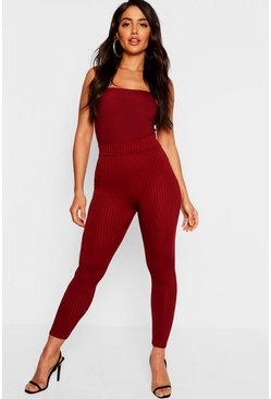 Womens Berry High Waist Ribbed Leggings