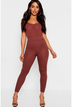 Womens Chocolate High Waist Ribbed Leggings