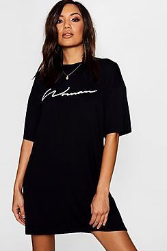 Woman Slogan Oversized T-Shirt Dress