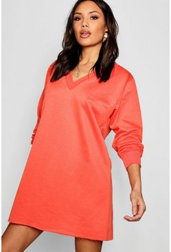 Womens Orange V Neck Sweatshirt Dress