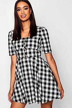 Button Front Check Puff Sleeve Skater Dress