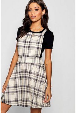 Womens Taupe Tonal Check Jersey Pinafore Dress