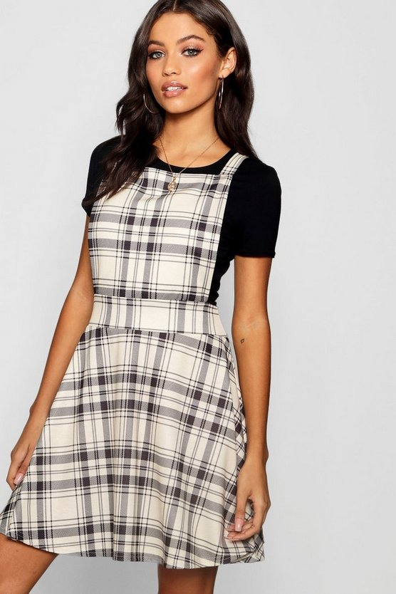 Tonal Check Jersey Pinafore Dress