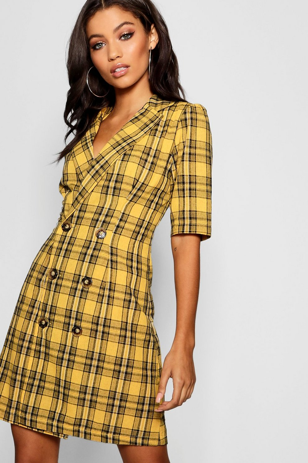 2a772934e3be4 Womens Mustard Check Button Blazer Dress. Hover to zoom