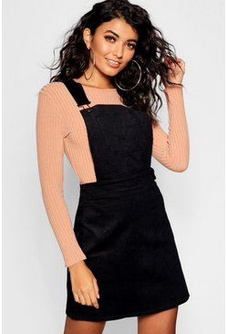 Black Button Front Cord Pinafore Dress