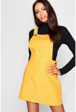 Womens Mustard Button Front Cord Pinafore Dress