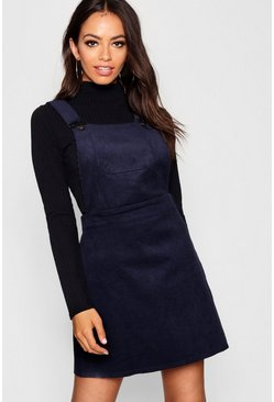 Womens Navy Button Front Cord Pinafore Dress
