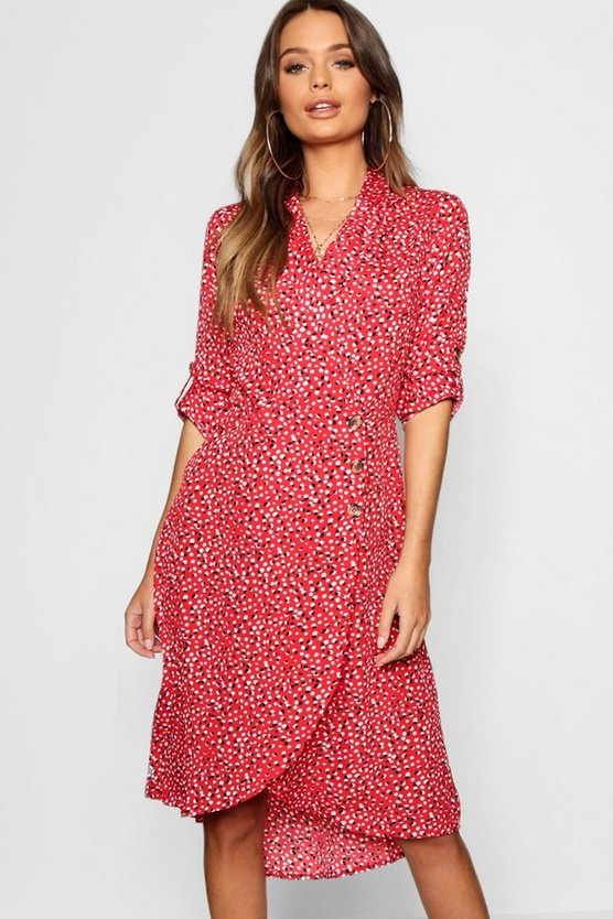 Womens Red Horn Button Tie Sleeve Midi Dress