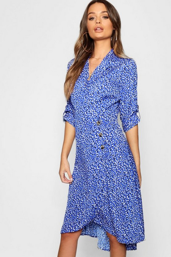 Womens Royal Horn Button Tie Sleeve Midi Dress