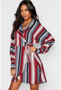 Womens Burgundy Oversized Tonal Stripe Shirt Dress