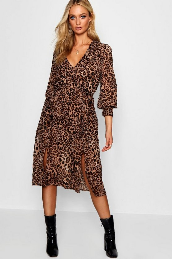 Womens Black Wrap Front Leopard Print Midi Dress