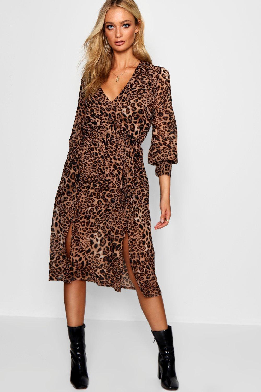 2213a973d8 Wrap Front Leopard Print Midi Dress | Boohoo