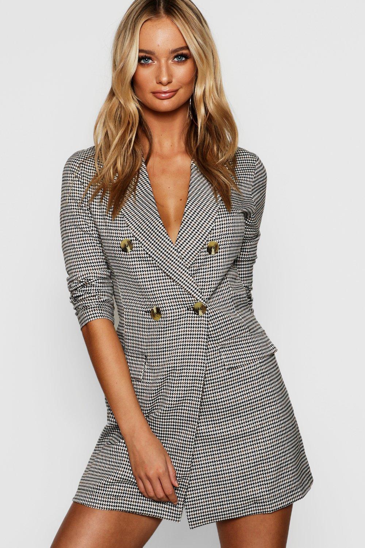 b0504fc4a2dc Tweed Horn Button Blazer Dress | Boohoo